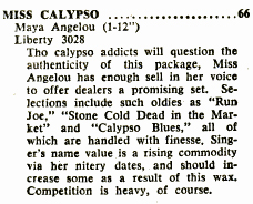 """Miss Calypso"" reviewed in Billboard"