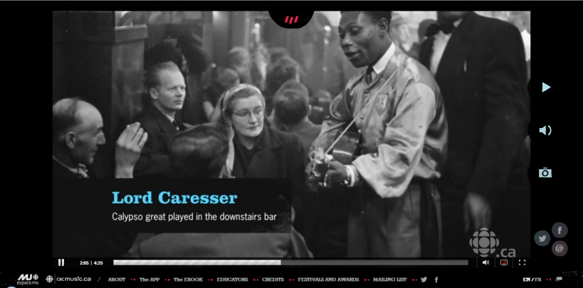 "A screenshot from Episode 9 of ""Burgundy Jazz,"" featuring Louis Jaques's iconic 1951 photo from the Montreal Evening Standard of Lord Caresser performing at Rockheads Paradise"