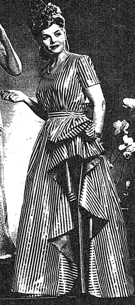 "Detail from the New York Times Sunday Magazine, 5 May 1942.  ""The swirling folds of a calypso dancer's frock are echoed in the red and white striped glazed chintz."""