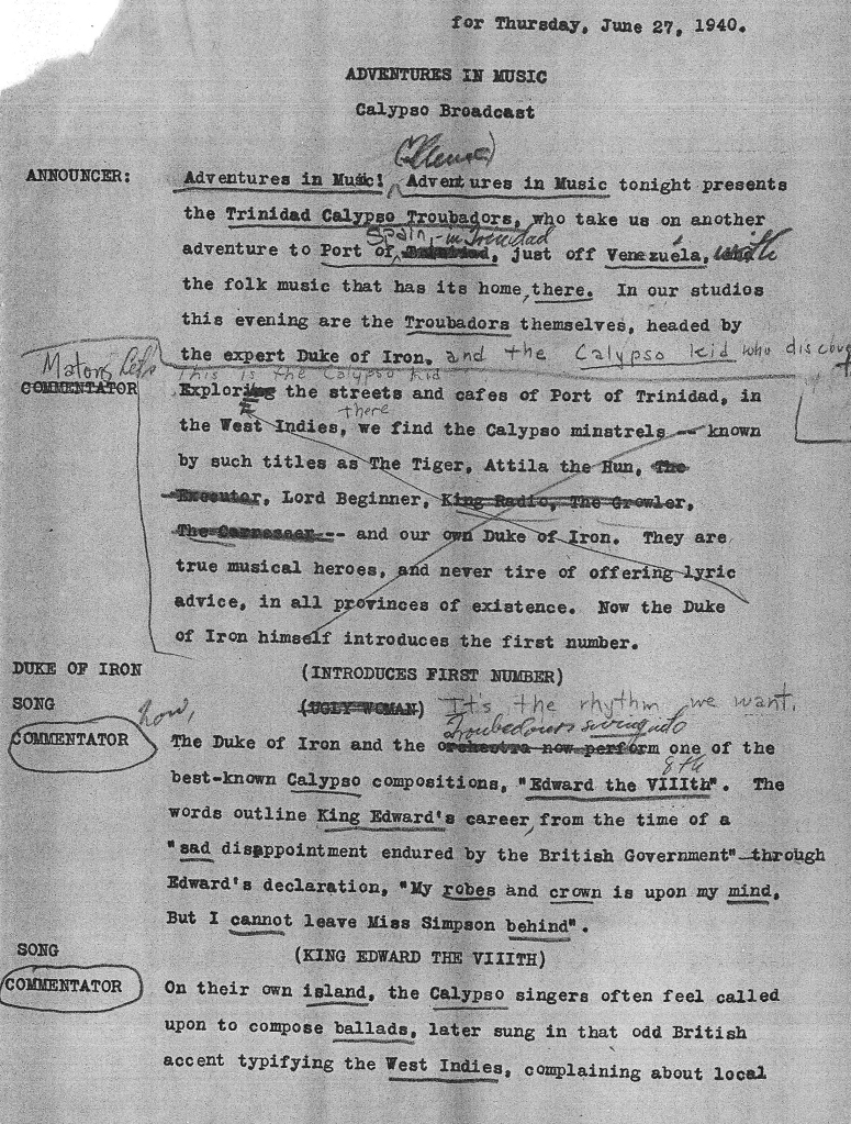 "The first page of Paul Kresh's draft script for ""Adventures in Music,"" June 27, 1940"