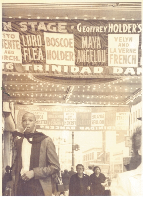 Geoffrey Holder outside Loew's Metropolitan Theater, Brooklyn, New York, April 1957